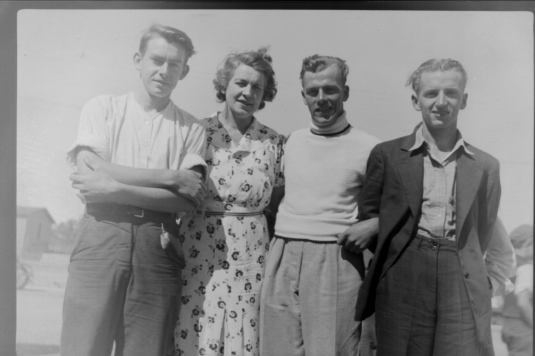A photo from a 1940 visit to Bruce Station. Pictured are (center) Harry and (right) Ulric Ulric Dubé. The other two are unidentified.